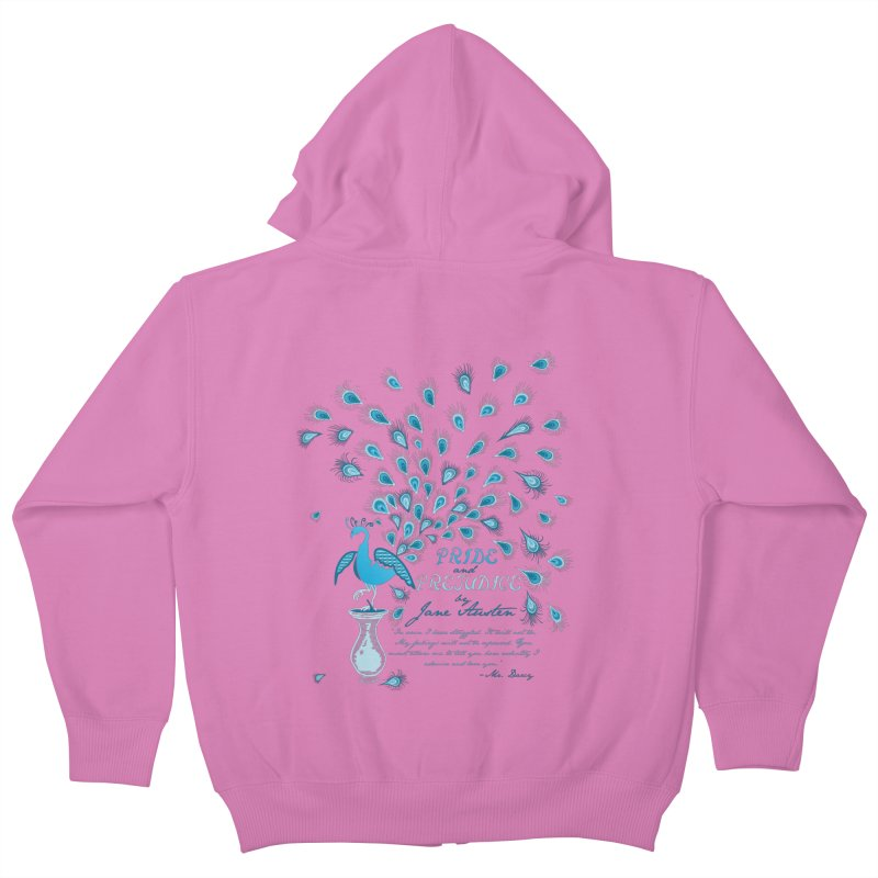 Paisley Peacock Pride and Prejudice Kids Zip-Up Hoody by doodleheaddee's Artist Shop