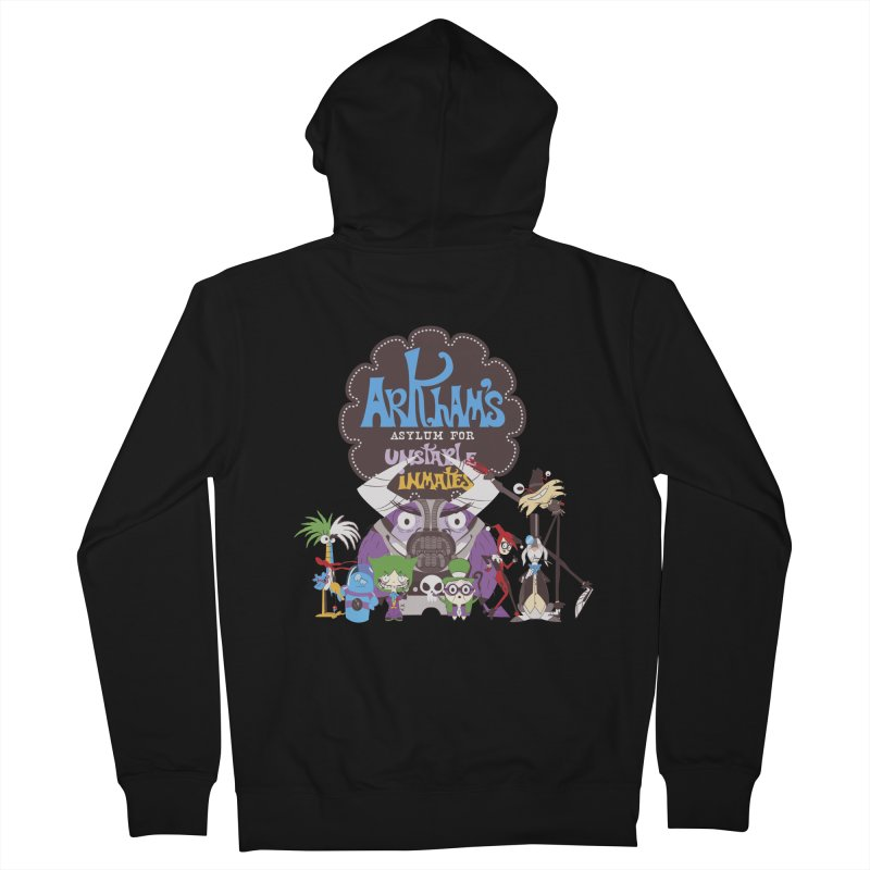 ARKHAM'S ASYLUM FOR UNSTABLE INMATES Men's French Terry Zip-Up Hoody by doodleheaddee's Artist Shop