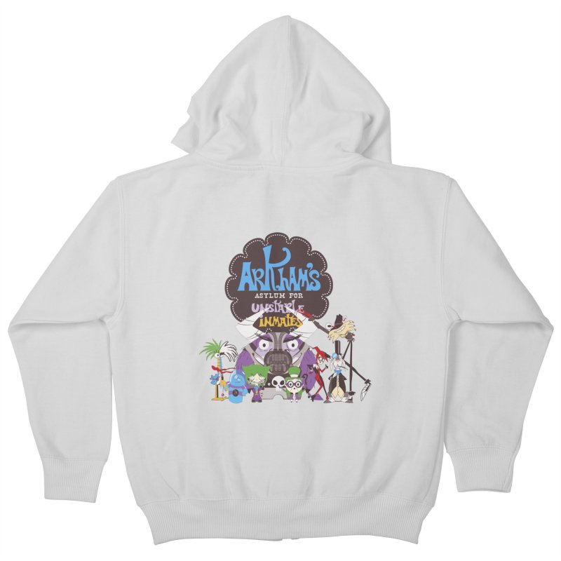 ARKHAM'S ASYLUM FOR UNSTABLE INMATES Kids Zip-Up Hoody by doodleheaddee's Artist Shop