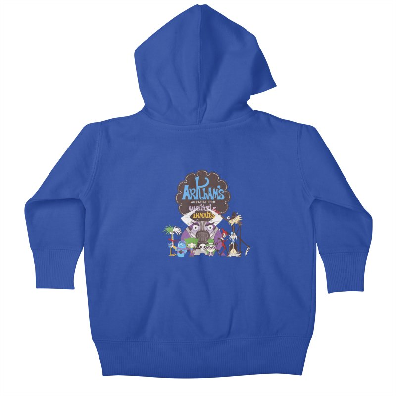 ARKHAM'S ASYLUM FOR UNSTABLE INMATES Kids Baby Zip-Up Hoody by doodleheaddee's Artist Shop