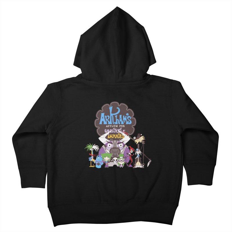 ARKHAM'S ASYLUM FOR UNSTABLE INMATES Kids Toddler Zip-Up Hoody by doodleheaddee's Artist Shop