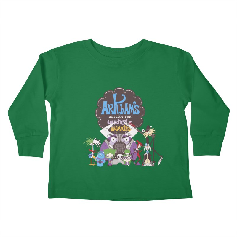 ARKHAM'S ASYLUM FOR UNSTABLE INMATES Kids Toddler Longsleeve T-Shirt by doodleheaddee's Artist Shop