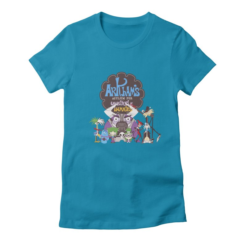 ARKHAM'S ASYLUM FOR UNSTABLE INMATES Women's Fitted T-Shirt by doodleheaddee's Artist Shop