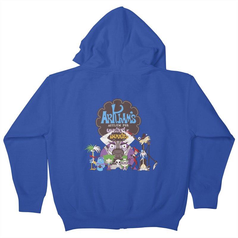 ARKHAM'S ASYLUM FOR UNSTABLE INMATES Kids Zip-Up Hoody by doodleheaddee's Artist Shop