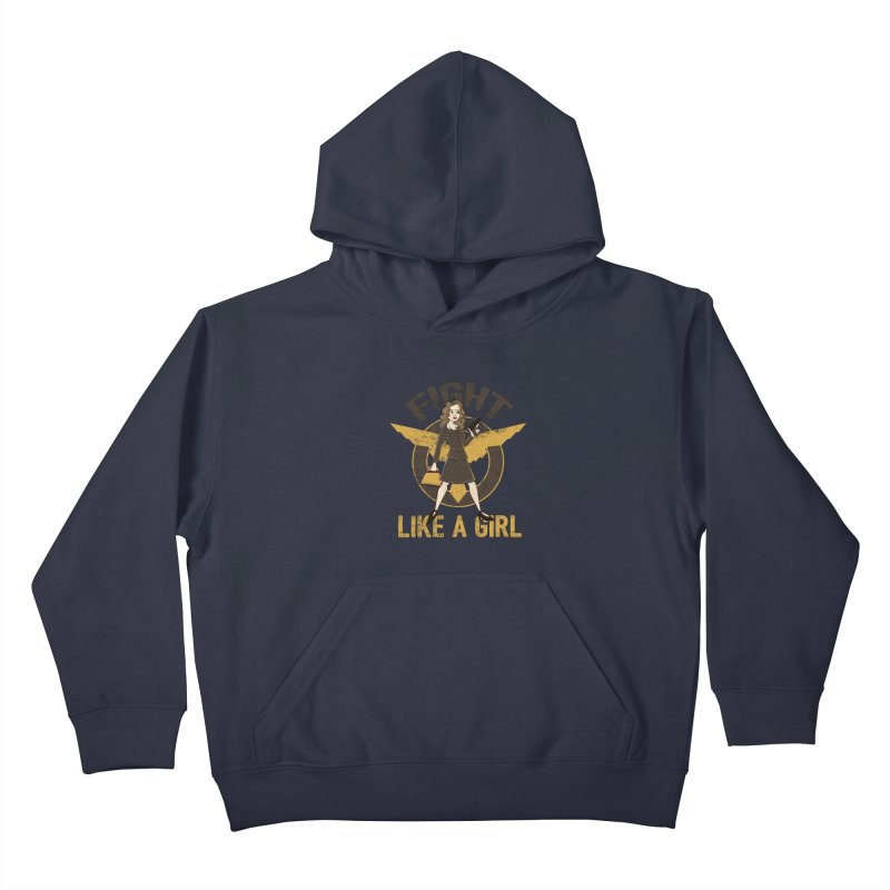 Fight Like A Girl Kids Pullover Hoody by doodleheaddee's Artist Shop