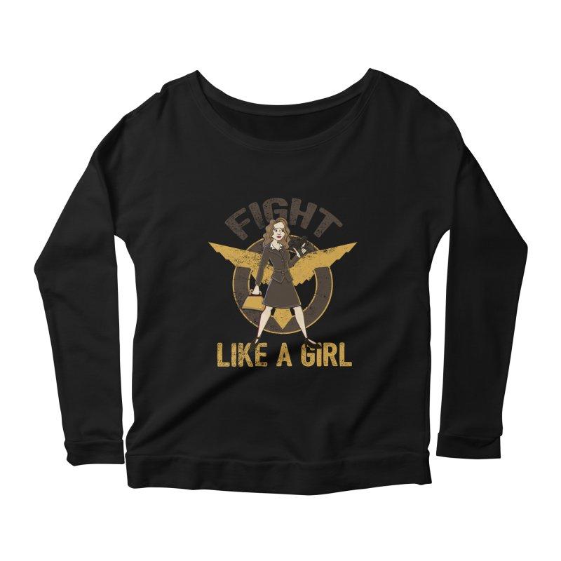 Fight Like A Girl Women's Longsleeve Scoopneck  by doodleheaddee's Artist Shop