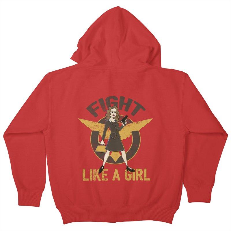 Fight Like A Girl Kids Zip-Up Hoody by doodleheaddee's Artist Shop