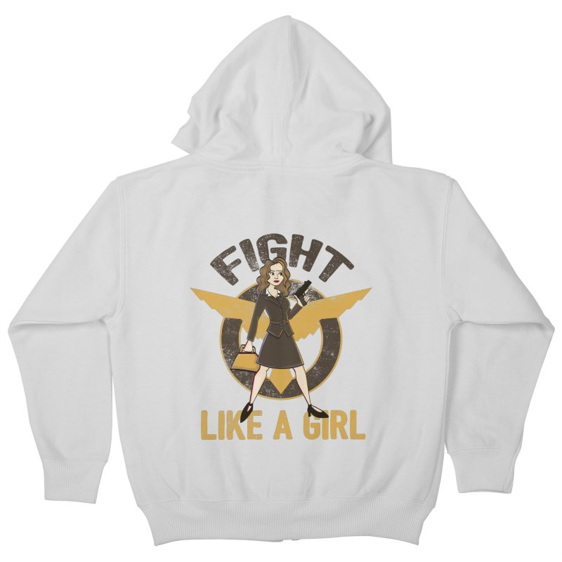 Fight Like A Girl Kids Zip-Up Hoody by doodleheaddee's Artist Shop