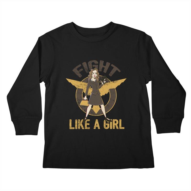 Fight Like A Girl Kids Longsleeve T-Shirt by doodleheaddee's Artist Shop