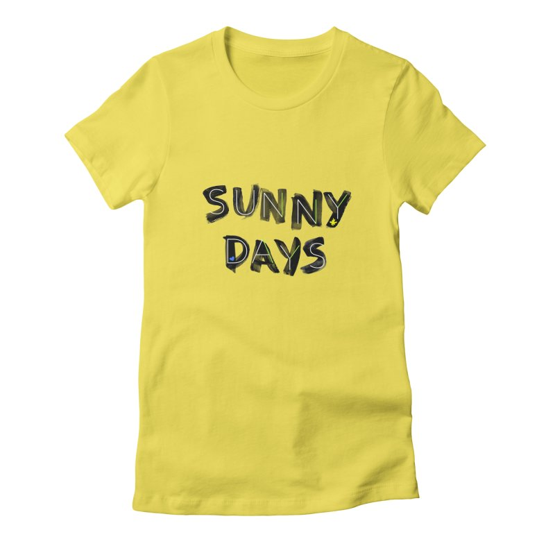Sunny Days in Women's Fitted T-Shirt Vibrant Yellow by Doodles Invigorate's Artist Shop