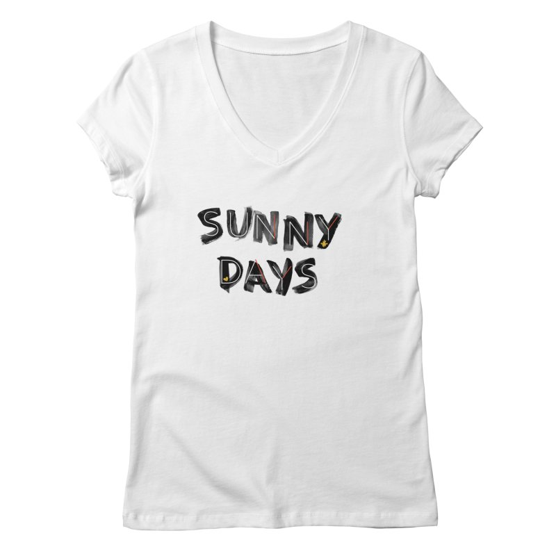 Sunny Days in Women's Regular V-Neck White by Doodles Invigorate's Artist Shop