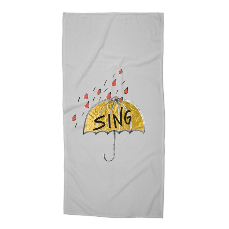 Sing in the Rain Accessories Beach Towel by Doodles Invigorate's Artist Shop