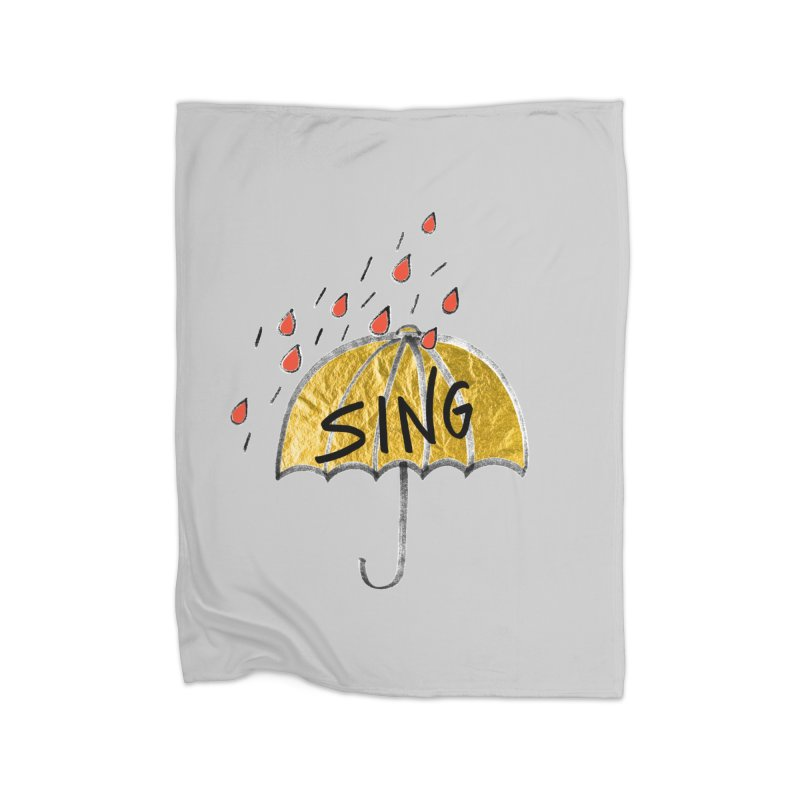Sing in the Rain Home Fleece Blanket Blanket by Doodles Invigorate's Artist Shop