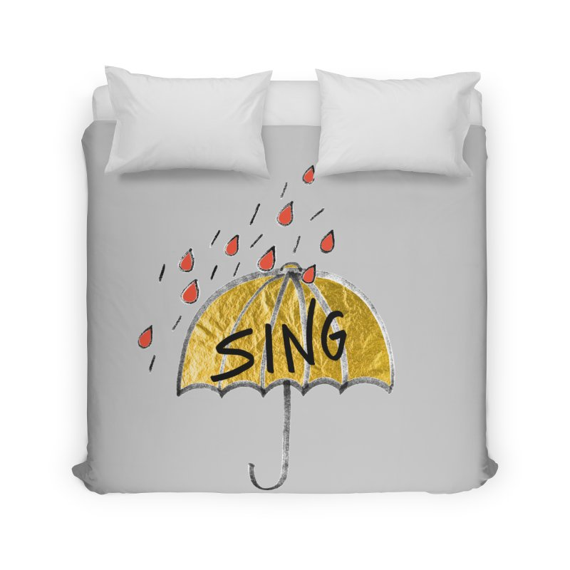 Sing in the Rain Home Duvet by Doodles Invigorate's Artist Shop