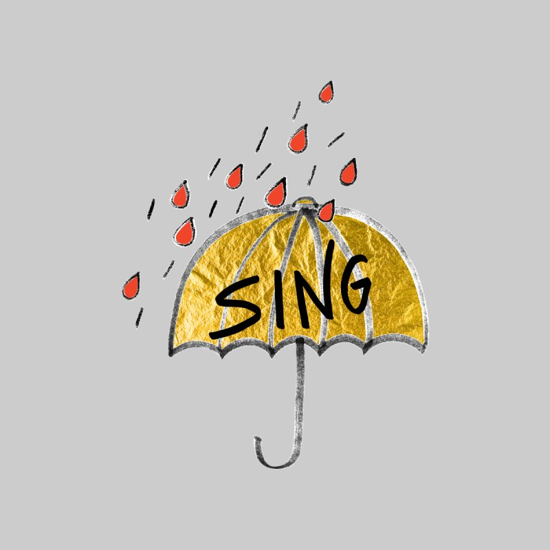 Sing in the Rain Home Mounted Aluminum Print by Doodles Invigorate's Artist Shop