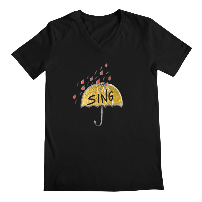 Sing in the Rain Men's V-Neck by Doodles Invigorate's Artist Shop
