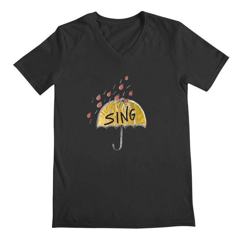 Sing in the Rain Men's Regular V-Neck by Doodles Invigorate's Artist Shop