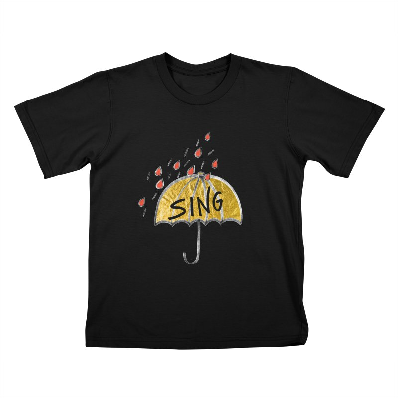 Sing in the Rain Kids T-Shirt by Doodles Invigorate's Artist Shop