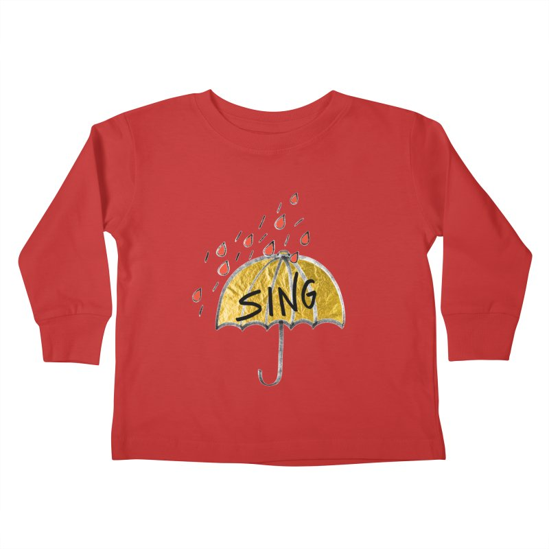 Sing in the Rain Kids Toddler Longsleeve T-Shirt by Doodles Invigorate's Artist Shop