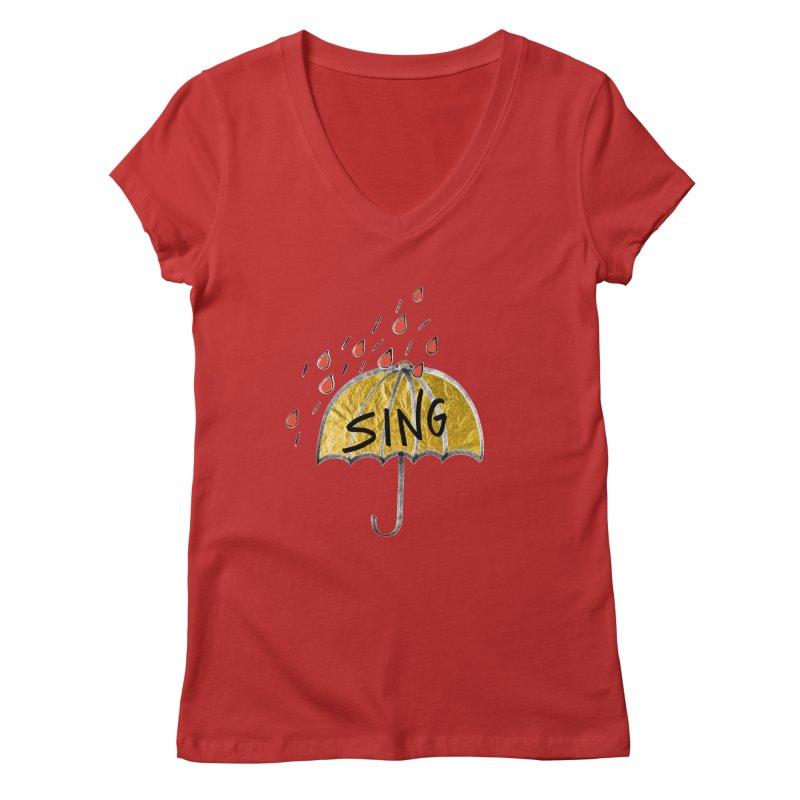 Sing in the Rain Women's Regular V-Neck by Doodles Invigorate's Artist Shop