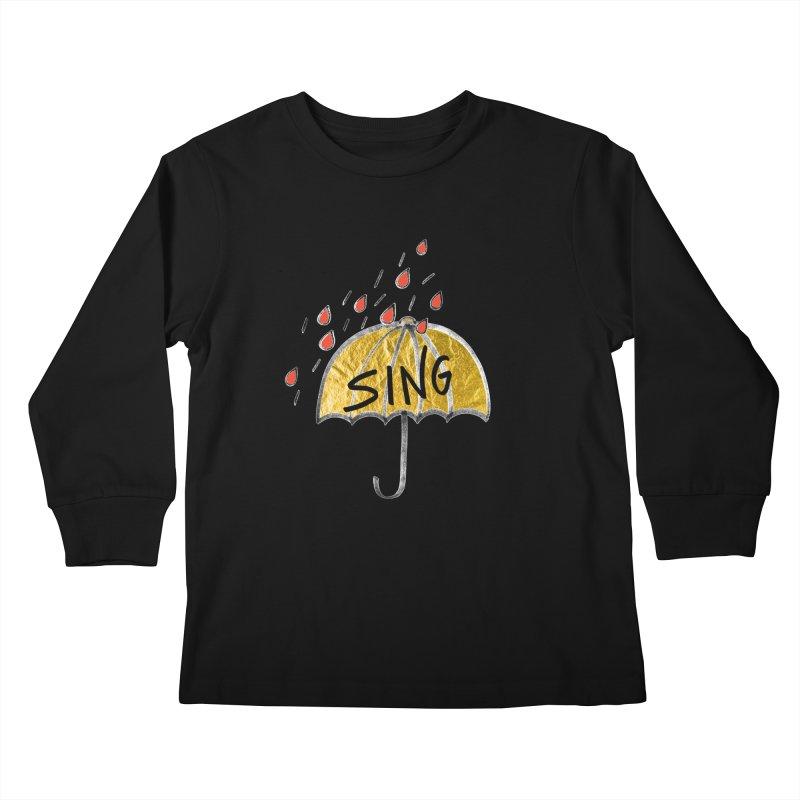 Sing in the Rain Kids Longsleeve T-Shirt by Doodles Invigorate's Artist Shop