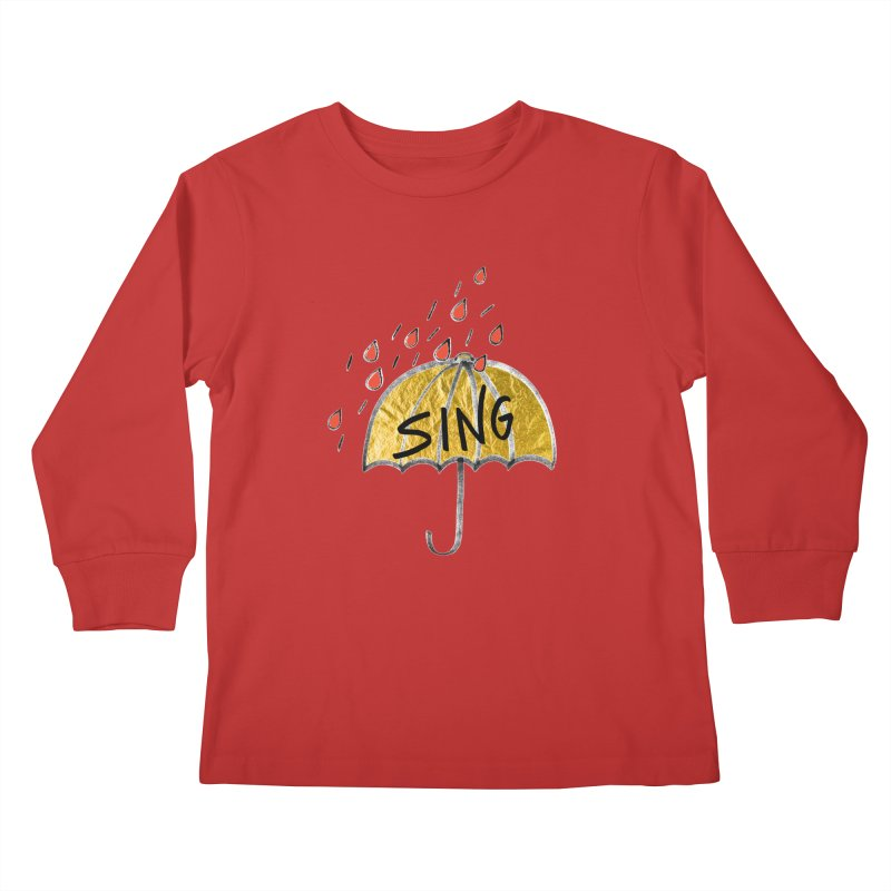 Sing in the Rain Kids Longsleeve T-Shirt by Doodles Invigorate's Artist Shop
