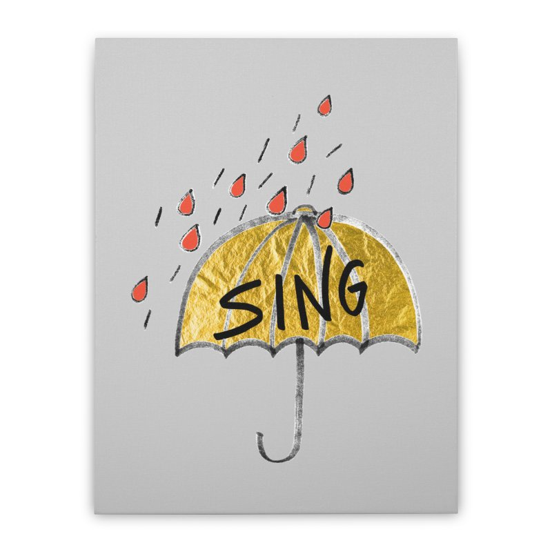 Sing in the Rain Home Stretched Canvas by Doodles Invigorate's Artist Shop