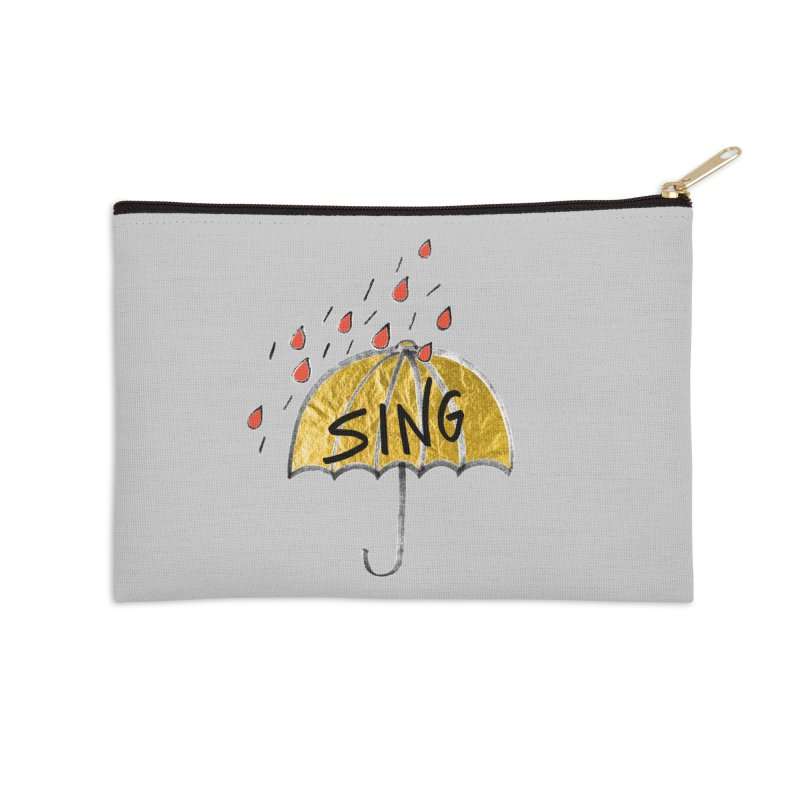 Sing in the Rain Accessories Zip Pouch by Doodles Invigorate's Artist Shop
