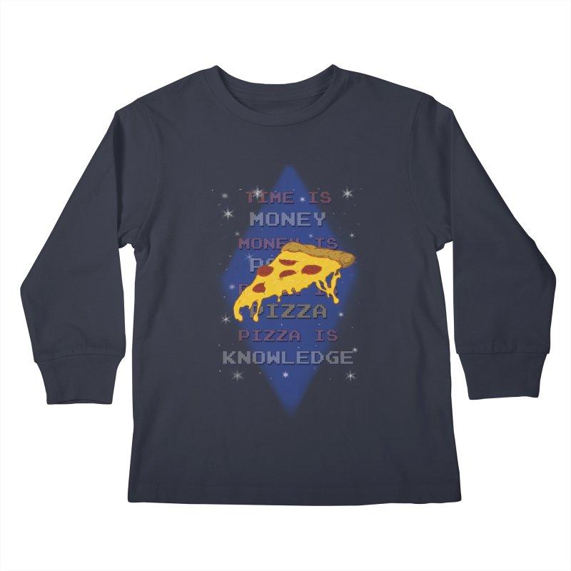 Pizza is Knowledge Kids Longsleeve T-Shirt by DoomBotics's Artist Shop