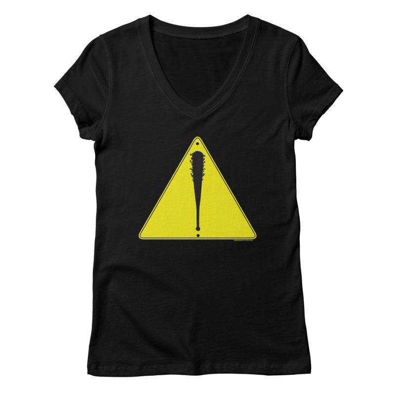 Caution bat Women's V-Neck by doombxny's Artist Shop