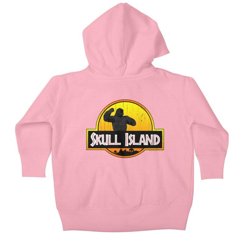 Skull Island Distressed  Kids Baby Zip-Up Hoody by doombxny's Artist Shop