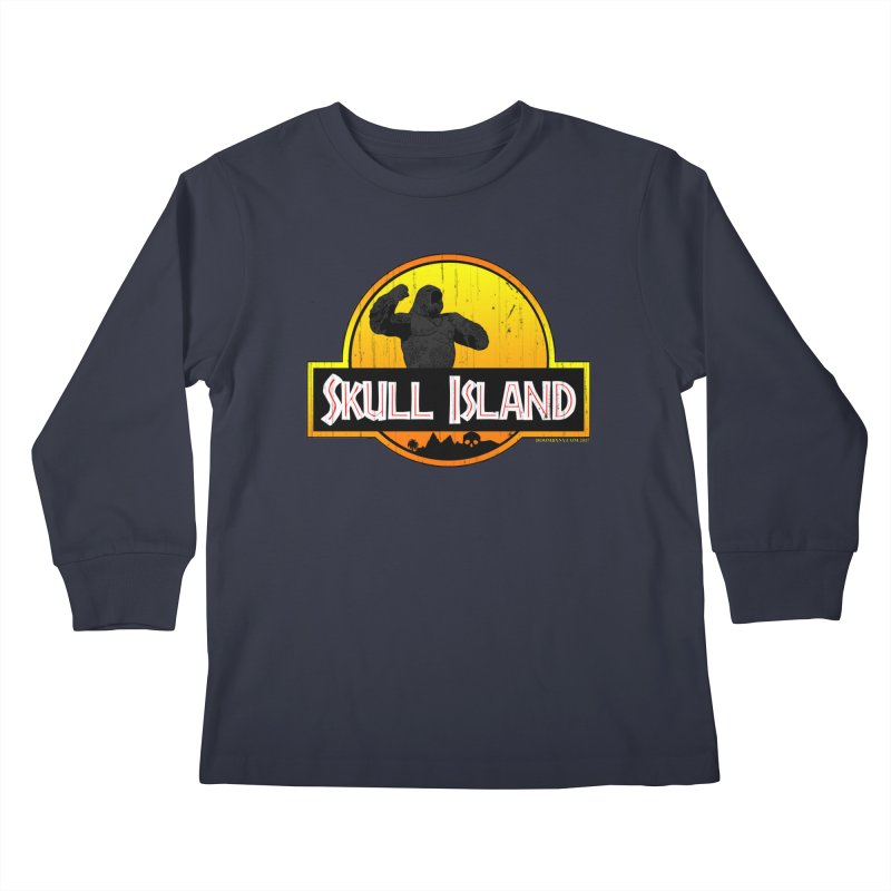 Skull Island Distressed  Kids Longsleeve T-Shirt by doombxny's Artist Shop