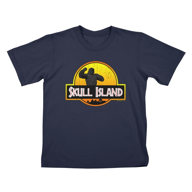 Skull Island Distressed  Kids T-Shirt by doombxny's Artist Shop