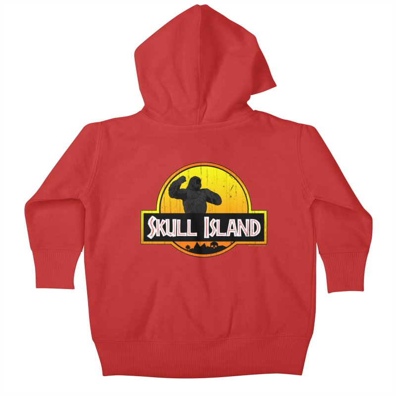Skull Island Distressed  Kids Baby Zip-Up Hoody by doombxny's Artist Shop