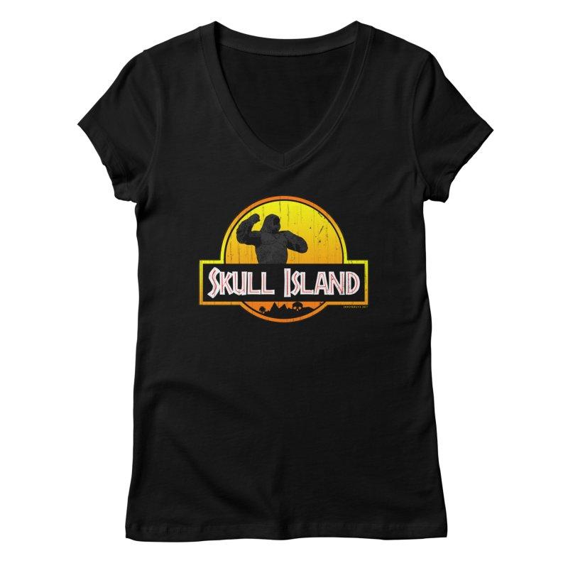 Skull Island Distressed  Women's V-Neck by doombxny's Artist Shop