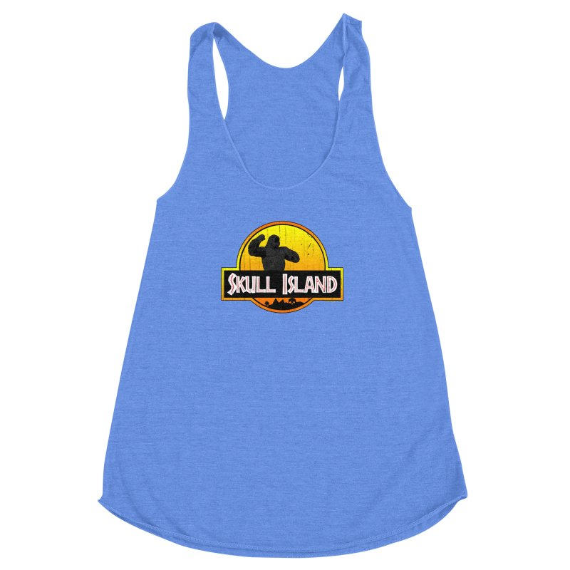 Skull Island Distressed  Women's Racerback Triblend Tank by doombxny's Artist Shop