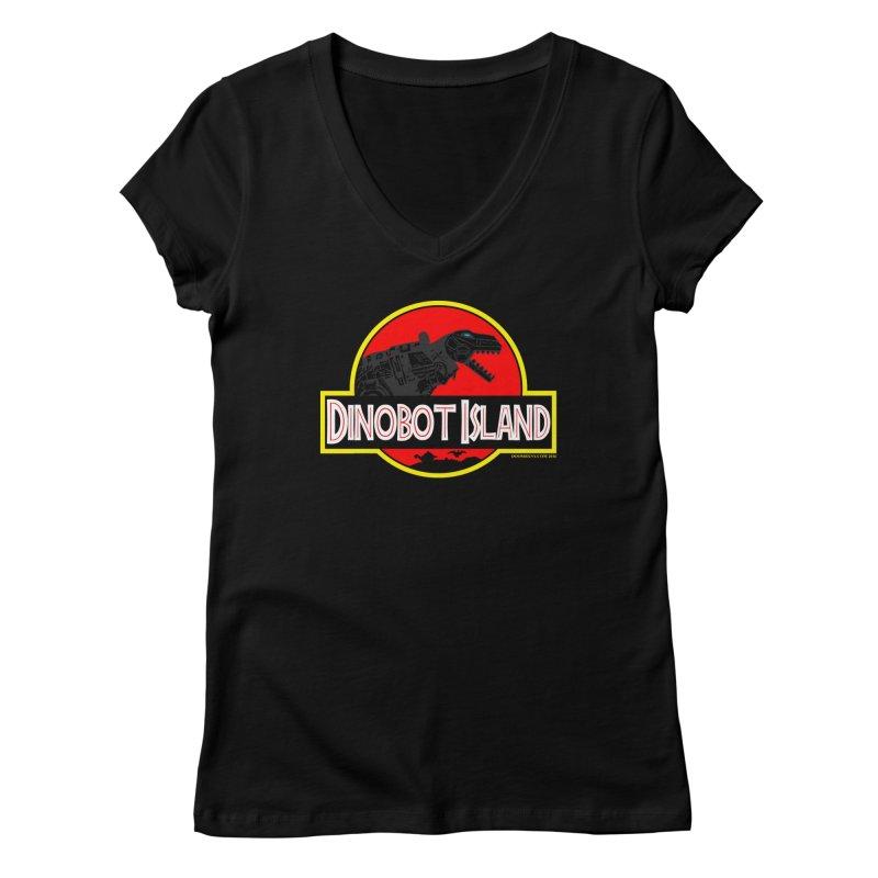 Dinobot Island Women's V-Neck by doombxny's Artist Shop