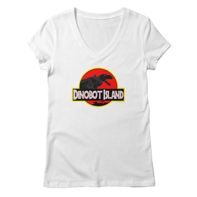 Dinobot Island Women's V-Neck by doombxny's Artist Shop