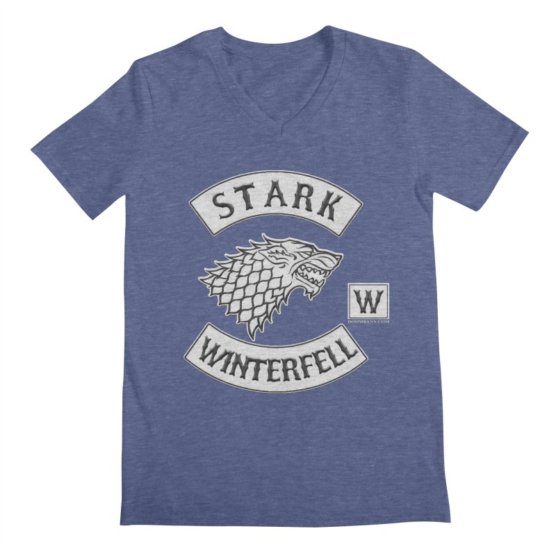 House Stark Biker Patch  Men's V-Neck by doombxny's Artist Shop