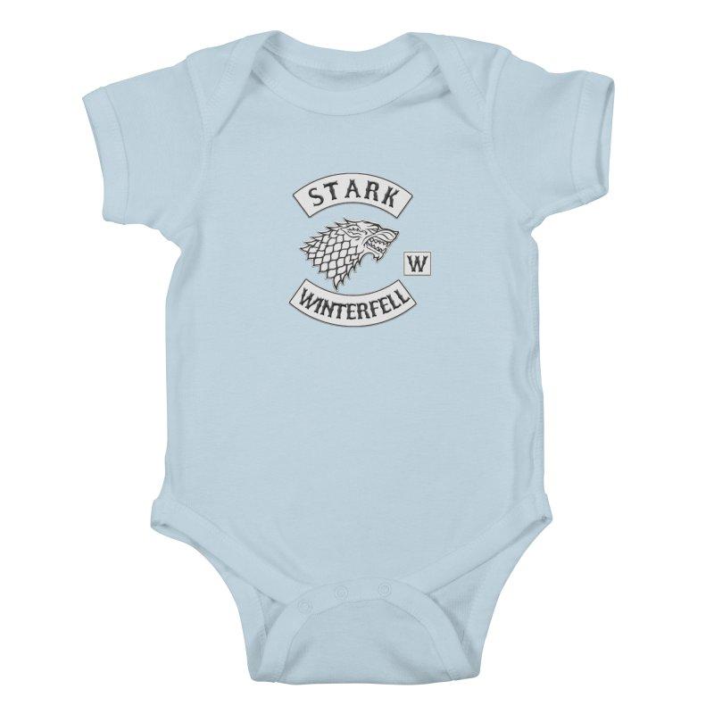 House Stark Biker Patch  Kids Baby Bodysuit by doombxny's Artist Shop