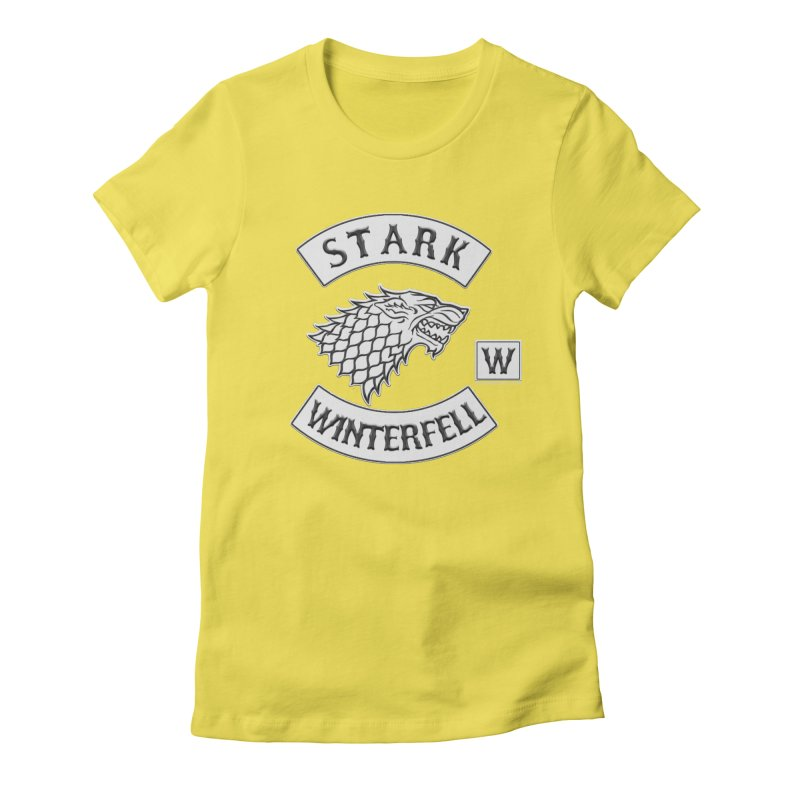 House Stark Biker Patch  Women's Fitted T-Shirt by doombxny's Artist Shop