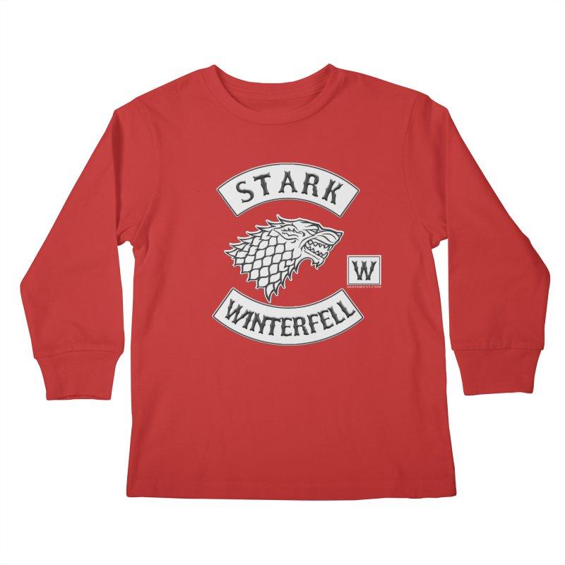 House Stark Biker Patch  Kids Longsleeve T-Shirt by doombxny's Artist Shop