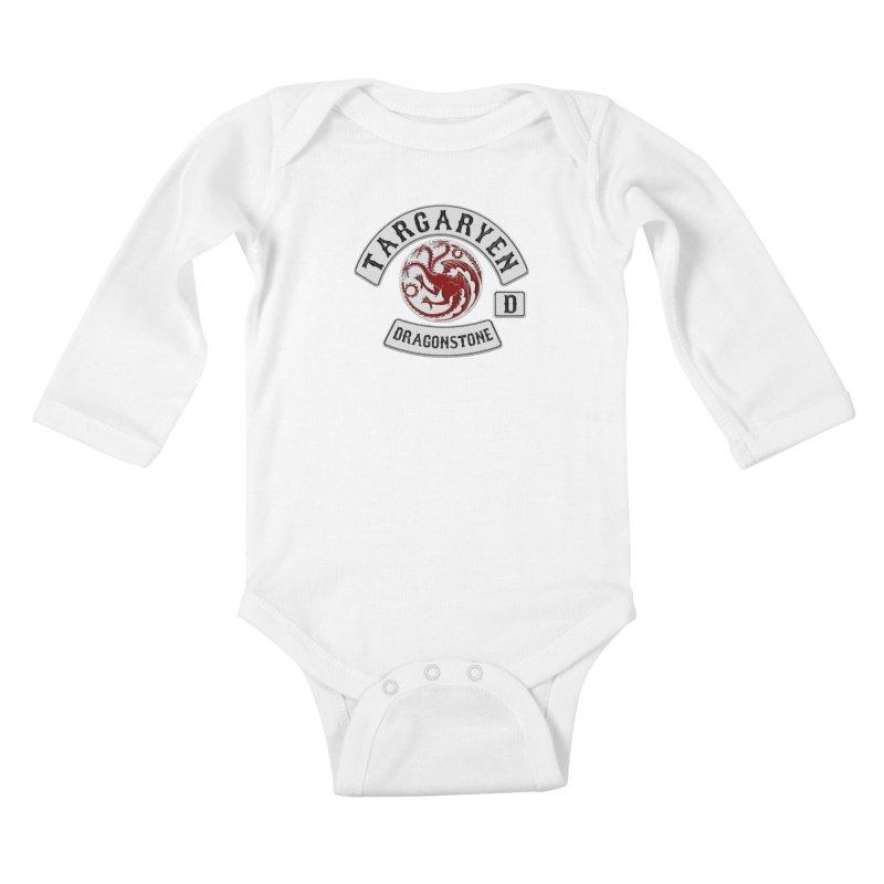 House Targaryen Biker patch Kids Baby Longsleeve Bodysuit by doombxny's Artist Shop