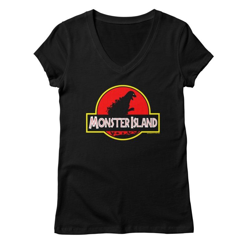 Monster Island Women's V-Neck by doombxny's Artist Shop