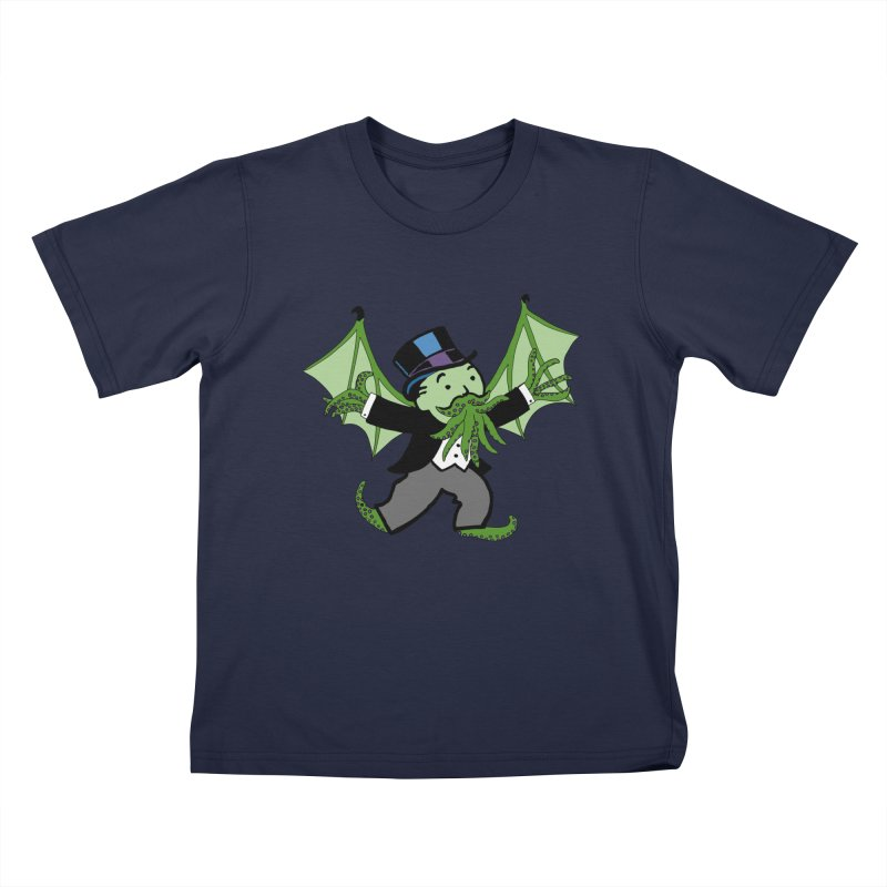Eldritch Uncle Pennybags Kids T-Shirt by Doomsday Profit Merch