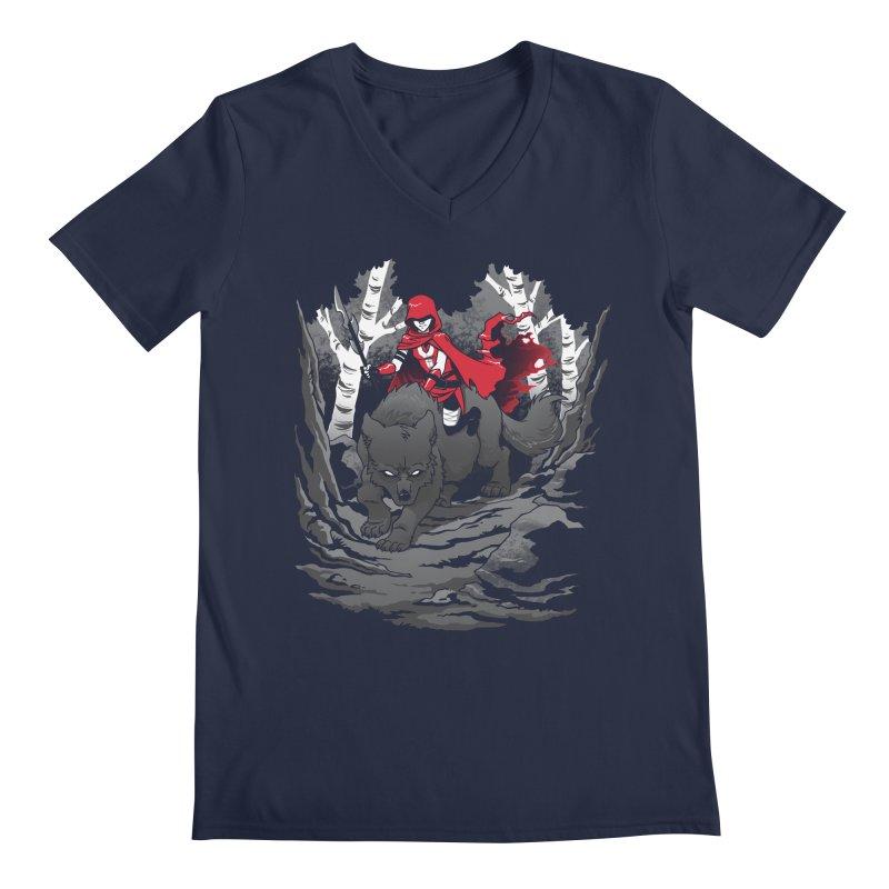 Red Men's V-Neck by Dooomcat