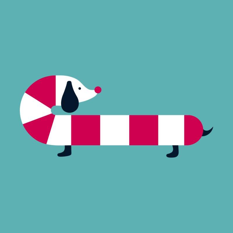 Christmas Candy Cane Dog Women's T-Shirt by DOOZAL
