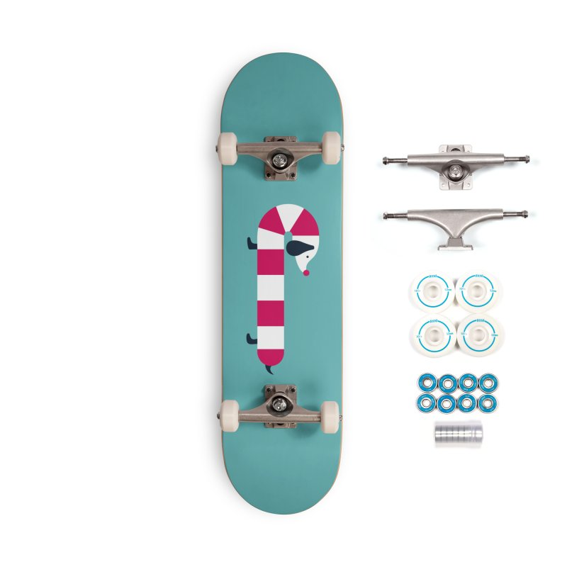 Christmas Candy Cane Dog Accessories Skateboard by DOOZAL