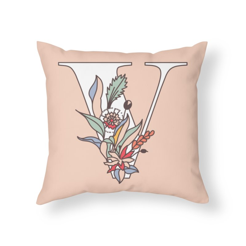 Floral Letter V Home Throw Pillow by dos' Shop
