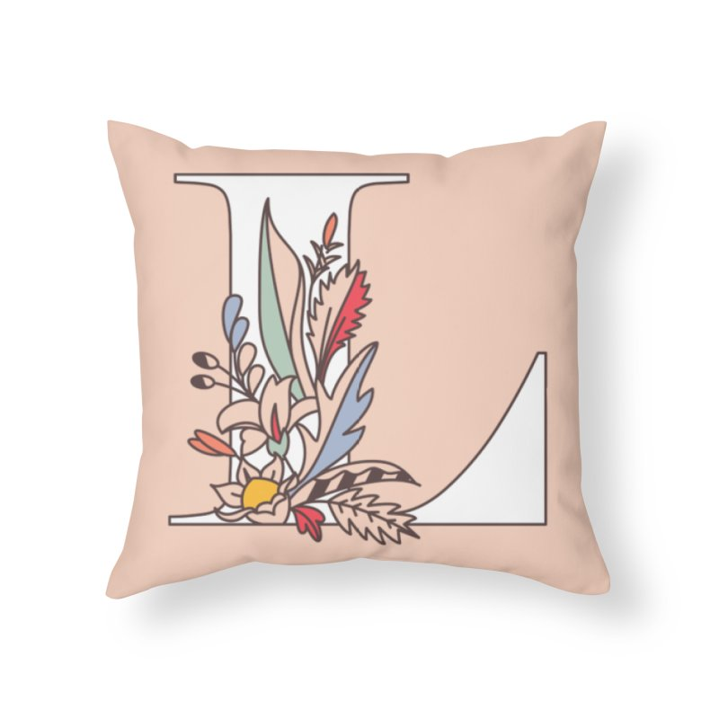 Floral Letter L Home Throw Pillow by dos' Shop